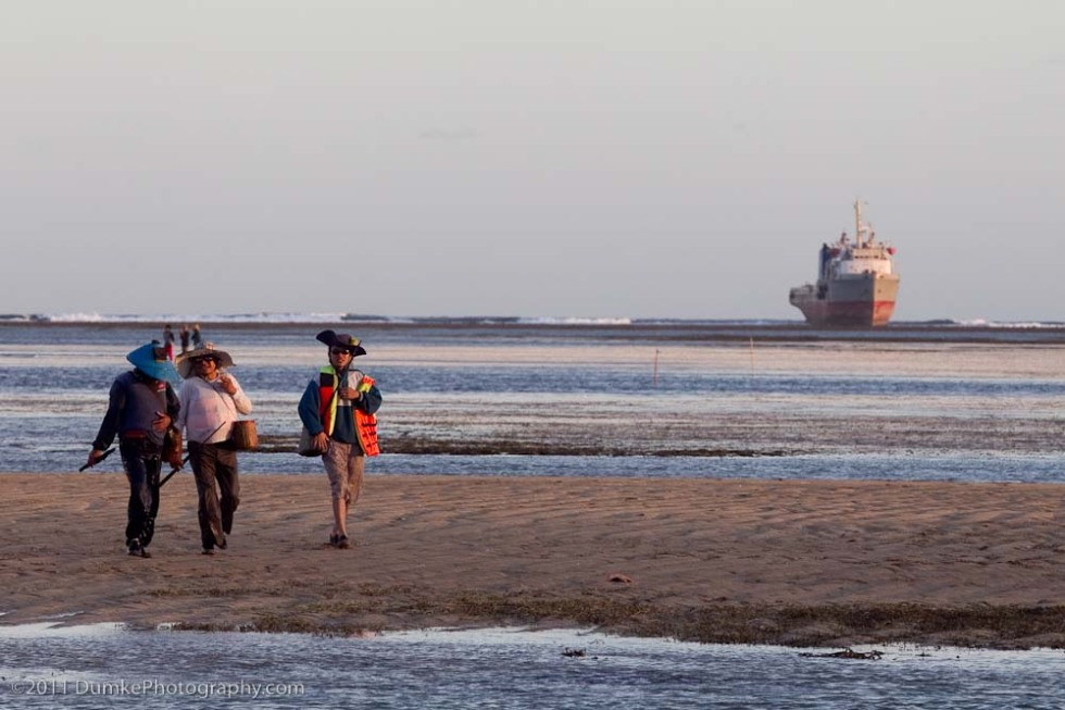Fishermen with beached tanker