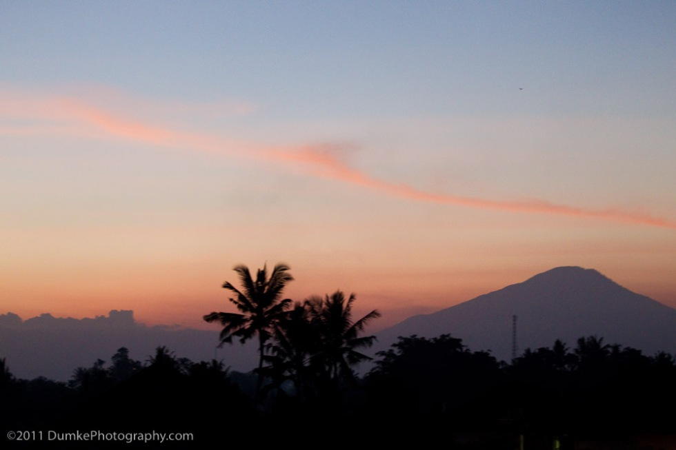Sunset from Wise family balcony, overlooking Ubud